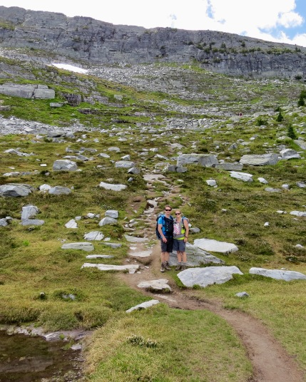 Hiking through the alpine terrain near the weather station